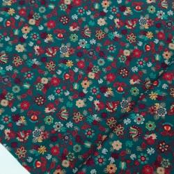 Tela popelin flores rojas / verde