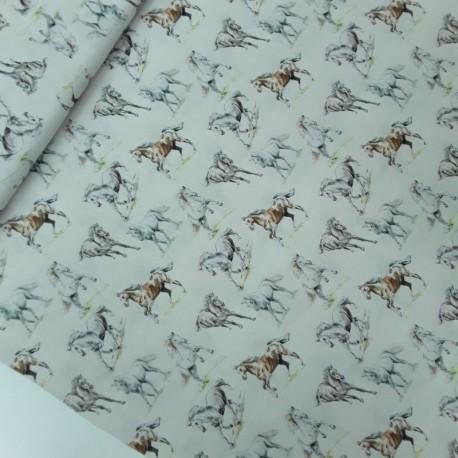Tela Percal caballos