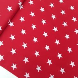 Tela Popelin estrellas blanco fondo rojo