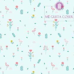 Tela Popelin Savanna Mint Flowers