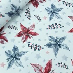 Mantelería navidad flor pascua azul y rojo