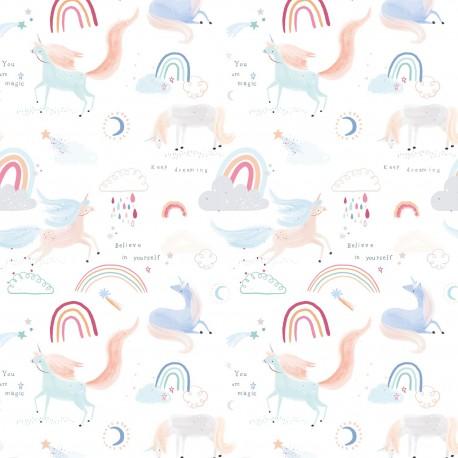 Tela popelin Unicorn is in the air